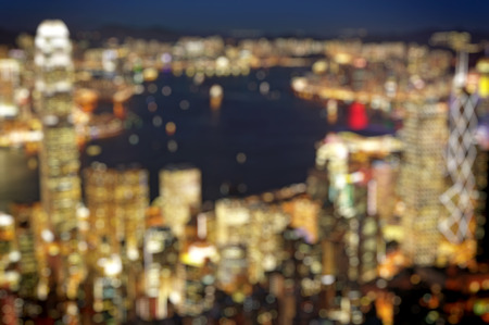 lighhts: blured lighhts from peak Victoria, Hong Kong Stock Photo