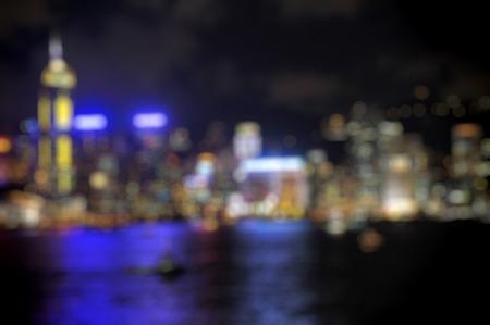 ifc: Hong Kong Harbour at sunset, blur bokeh light