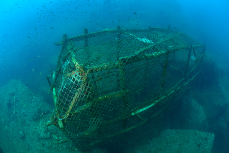 overfishing: An old fish trap lies on the seafloor in Chumporn Sea, Thaialnd