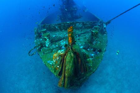 bottomless: Underwater wreck , Gun, Thailand.