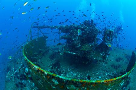 Underwater wreck , Gun, Thailand.
