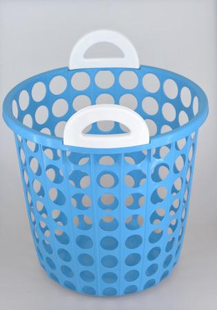 Blue basket isolated on white photo