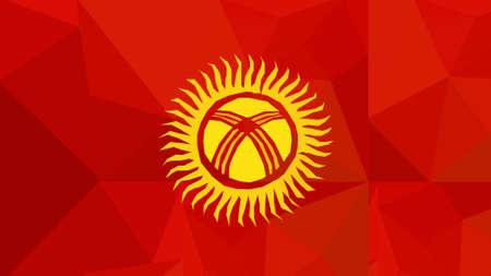 kyrgyzstan: kyrgyzstan flag - triangular polygonal pattern Stock Photo