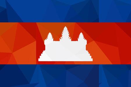 cambodia: cambodia flag - triangular polygonal pattern