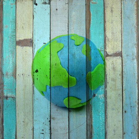 brick earth: earth Mural. The wooden painting  concept