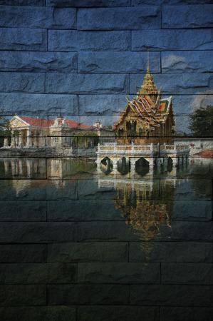 bang pa in: Bang pa in Palace Mural. The brick painting  concept