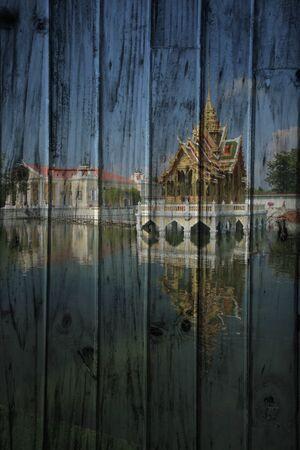 bang pa in: Bang pa in Palace Mural. The wood painting  concept Stock Photo