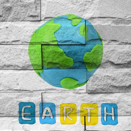 brick earth: earth Mural. The  brick painting  concept