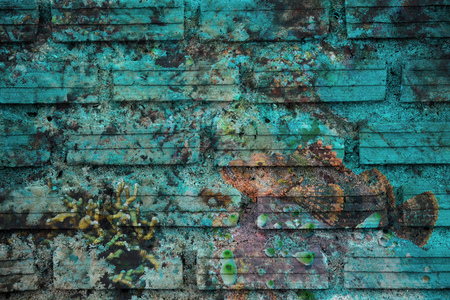 stonefish: stonefish on coral reef Mural. The brick painting concept Stock Photo
