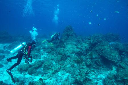 similan islands: divers in Similan Islands, Thailand Stock Photo