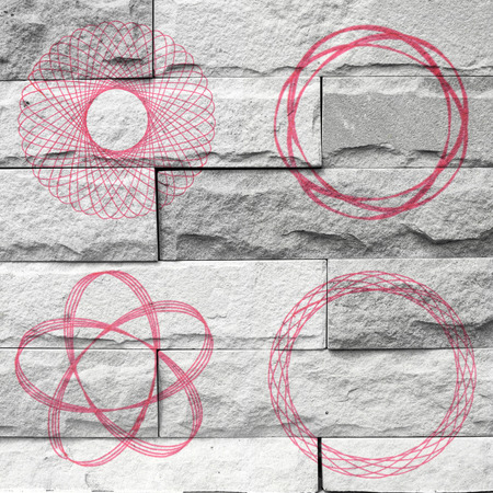 spirograph Mural. The brick painting concept photo
