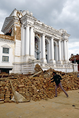 quake: KATHMANDU, NEPAL - APRIL 29, 2015: Durbar Square which was severly damaged after the major earthquake on 25 April 2015. Editorial