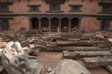 quake: KATHMANDU, NEPAL - APRIL 29, 2015: Patan dubar Square which was severly damaged after the major earthquake on 25 April 2015. Editorial