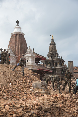 25 29: KATHMANDU, NEPAL - APRIL 29, 2015: Patan dubar Square which was severly damaged after the major earthquake on 25 April 2015. Editorial