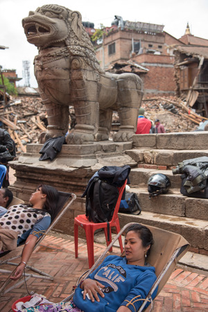 richter: KATHMANDU, NEPAL - APRIL 30, 2015: Nepalese people donating their blood for an injured person at Bhaktapur Durbar Square.