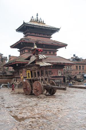 KATHMANDU, NEPAL - APRIL 30, 2015: The debris of buildings in the Bhaktapur city, 20km from the capital Kathmandu Editorial