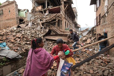 25 29: KATHMANDU, NEPAL - APRIL 29, 2015: Sankhu village which was severly damaged after the major earthquake on 25 April 2015.