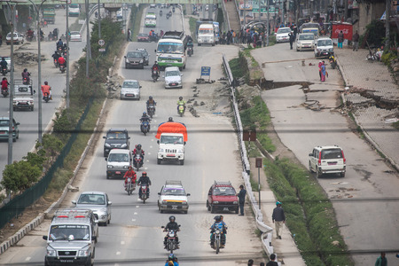 richter: KATHMANDU, NEPAL - APRIL 30, 2015:  road damaged after the major earthquake on 25 April 2015.