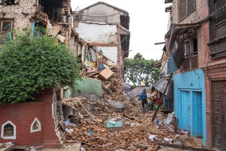 richter: KATHMANDU, NEPAL - MAY 1, 2015: Swayambhunath damaged after the major earthquake on 25 April 2015. Editorial