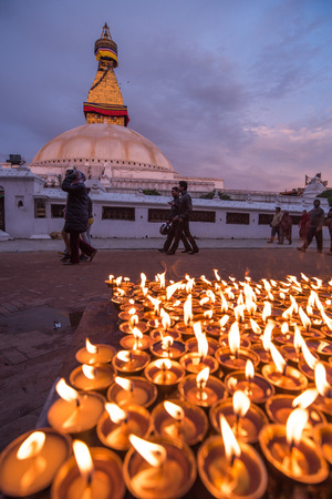 earthquake: KATHMANDU, NEPAL - APRIL 29, 2015: Nepali residents take part in a candle lighting ceremony for those lost in the earthquake on a street in Kathmandu, Nepal