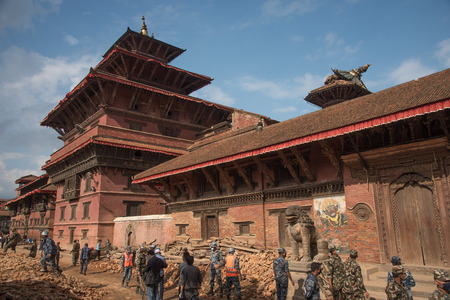 richter: KATHMANDU, NEPAL - APRIL 29, 2015: Patan dubar Square which was severly damaged after the major earthquake on 25 April 2015. Editorial
