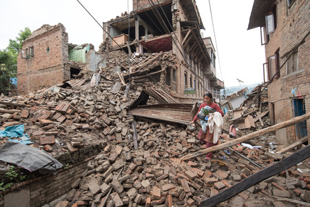25 29: KATHMANDU NEPAL  APRIL 29 2015: Sankhu village which was severly damaged after the major earthquake on 25 April 2015.