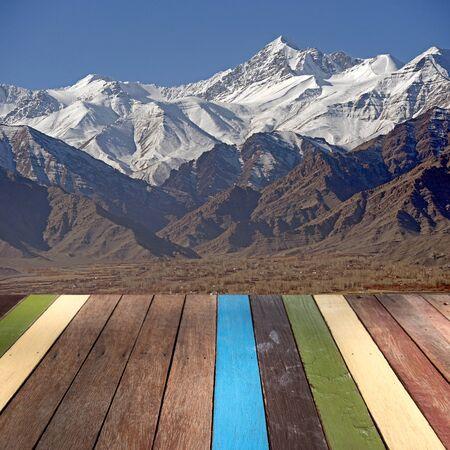 montage: Wood table top on Leh Ladakh, India montage concept Stock Photo