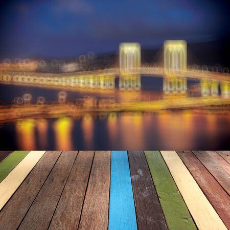 montage: Wood table top macau landmark montage concept