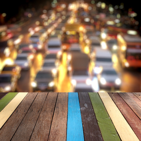 bangkok landmark: Wood table top Bangkok landmark, Thailand  montage concept