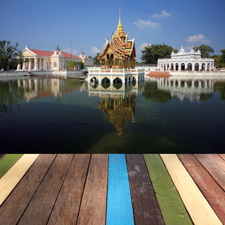 bang pa in: Wood table top Bang pa in, Ayutthaya, Thailand montage concept