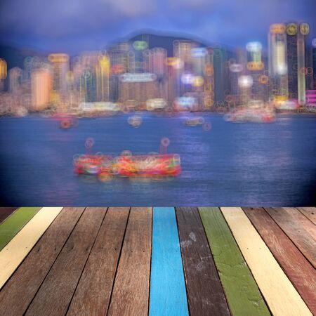 montage: Wood table top Hongkong landmark montage concept