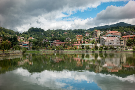 cai: Lao cai, Vietnam - June 16, 2015: building along lake in sapa city on 16 June 2015. Lao cai, Vietnam