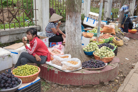 cai: Lao cai, Vietnam - June 16, 2015: Unidentified women are selling local fruit on 16 June 2015. Lao cai, Vietnam