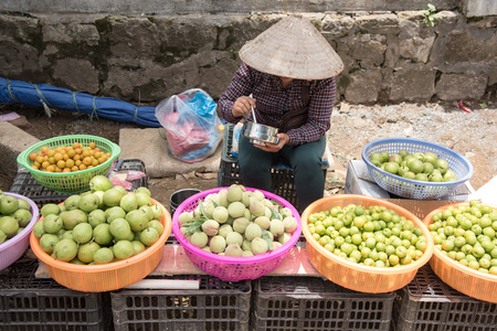 vietnamese ethnicity: Sapa selling some fruit and some goods on the local market, Sapa ,Northern of Vietnam