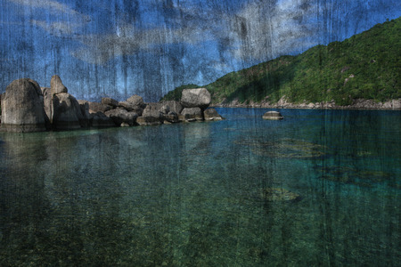 tao: The art of painting Koh Tao seascape, Thailand background