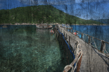 koh tao: The art of painting Koh Tao seascape, Thailand background