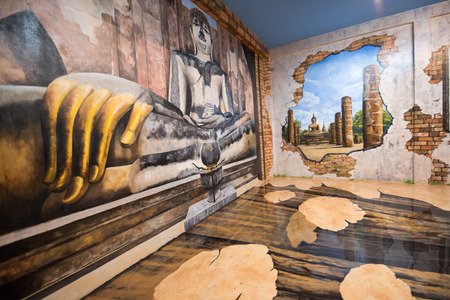 3d art: PATTAYA, THAILAND - JULY 18: painting 3D art gallery is shown on Mimosa on July 18, 2015 in Pattaya. It was established for tourist attraction under the concept of The City of Love through arts and architecture decorated. Editorial