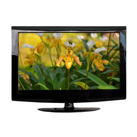 flat screen: modern LCD monitor isolated on white with photo in the screen Stock Photo