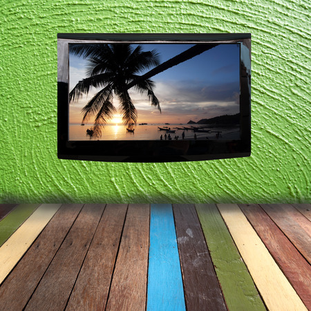 plasma tv: Plasma TV on the green wall with wood floor Stock Photo
