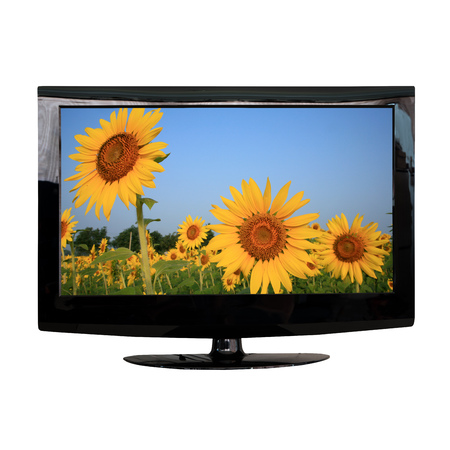 modern LCD monitor isolated on white with photo in the screen Stock Photo