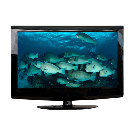 lcd: modern LCD monitor isolated on white with photo in the screen Stock Photo