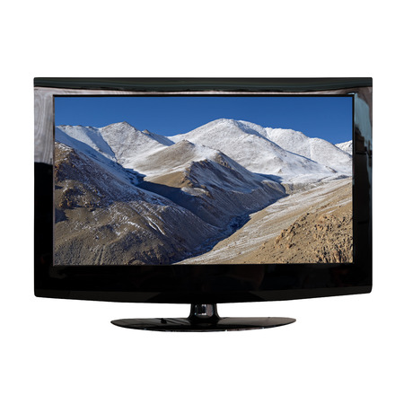 lcd monitor: modern LCD monitor isolated on white with photo in the screen Stock Photo