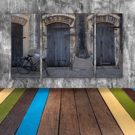photo stitch on cement wall