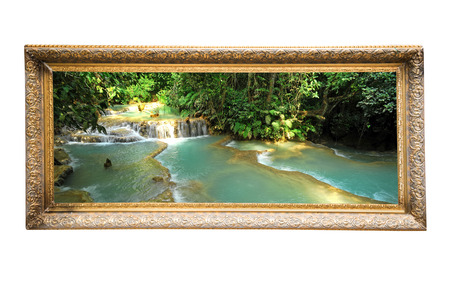 waterfall  dirty: Picture frame with photo on white background Stock Photo