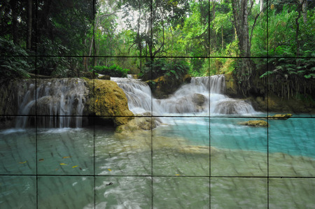 waterfall  dirty: The art of famous waterfall in Luang Phra Bang, Laos painting on tile Stock Photo