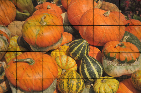 pumkin: The art of big pumkin painting on tile Stock Photo