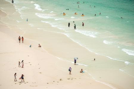 tour operator: PATTAYA, THAILAND - AUGUST 30, 2015:  Aerial view of Samae beach, in Ko Lan ( Larn Island ) on August 30, 2015 in Pattaya, Thailand.