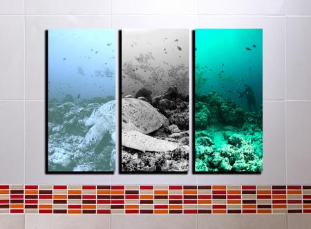 sipadan: The collage Sipadan Malaysia photos on tile background Stock Photo