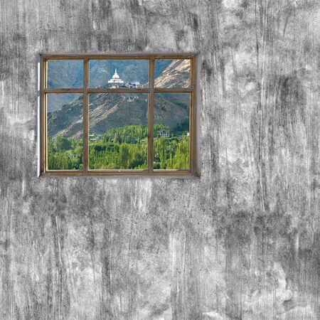 beach window: windows frame on cement wall and view of Leh ladakh nature Stock Photo