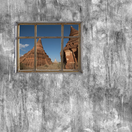 windows frame: windows frame on cement wall and view of Mandalay, Myanmar Stock Photo